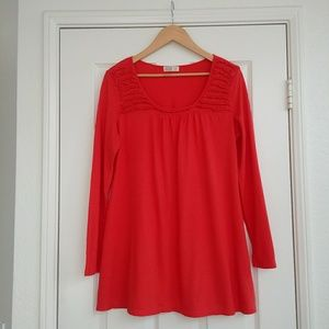Red Long Sleeve Ruffle Maternity Top